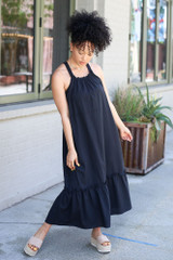 Model wearing the High Neck Ruffled Midi Dress