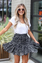 Model wearing the Floral Swing Skirt