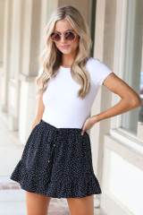 Polka Dot Shorts in Black Front View