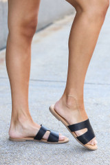 Dress Up model wearing the Cutout Slip On Sandals in Black