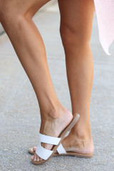 Cutout Slip On Sandals in White Side View