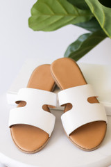 White - Cutout Slip On Sandals Front View