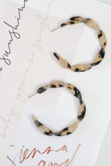 Tan - Twisted Acrylic Hoop Earrings from Dress Up