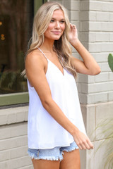 Textured V-Neck Tank in White Side View