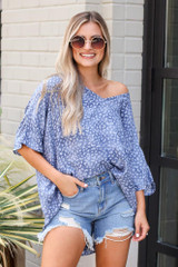 Blue - Leopard Print Oversized Top from Dress Up