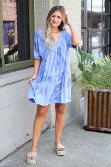 Dress Up model wearing the Tie-Dye Babydoll Dress with platform espadrilles
