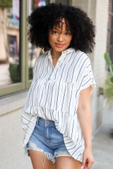 White - Striped Babydoll Blouse from Dress Up