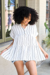 Striped Babydoll Blouse Front View