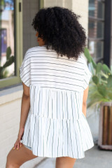 Striped Babydoll Blouse Back View