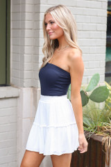 Strapless Ribbed Bodysuit in Navy Side View