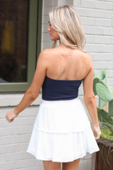 Strapless Ribbed Bodysuit in Navy Back View