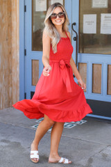 Red - Smocked Ruffle Midi Dress from Dress Up