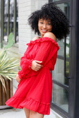 Red - Swiss Dot Off-the-Shoulder Dress from Dress Up