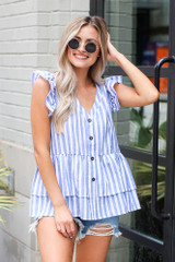 Model wearing the Striped Button Front Babydoll Blouse