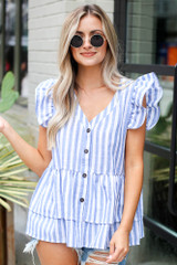 Striped Button Front Babydoll Blouse Front View