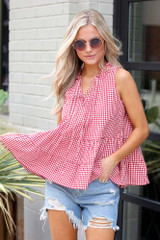 Red - Tiered Gingham Tank from Dress Up