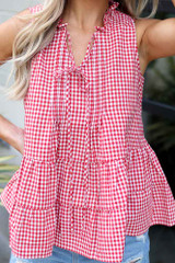 Close Up of the Tiered Gingham Tank