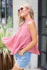 Tiered Gingham Tank Side View