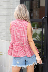 Tiered Gingham Tank Back View