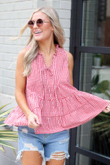 Tiered Gingham Tank Front View