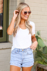 Cuffed Distressed Denim Shorts Front View