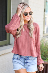 Dress Up model wearing the Oversized Ribbed Knit Top