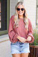 Oversized Ribbed Knit Top Front View