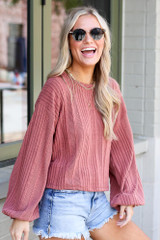 Oversized Ribbed Knit Top Side View