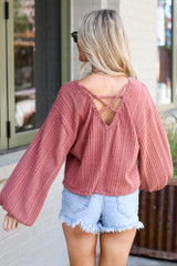Oversized Ribbed Knit Top Back View