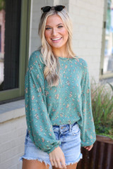 Green - Oversized Floral Top