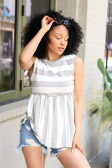 Model wearing the Striped Babydoll Tank