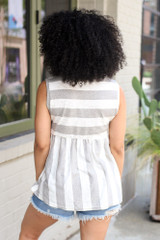 Striped Babydoll Tank Back View