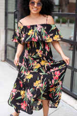 Close Up of the Floral Maxi Dress