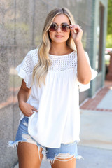 White - Eyelet Babydoll Top from Dress Up