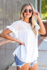 Eyelet Babydoll Top Side View