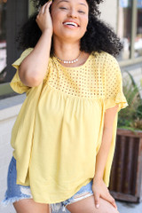 Eyelet Babydoll Top in Mustard Front View