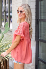Eyelet Babydoll Top in Red Side View