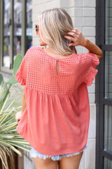 Eyelet Babydoll Top in Red Back View