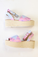 Flat Lay of the Tie-Dye Platform Espadrilles from Dress Up