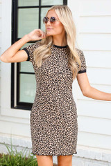 Leopard - Ribbed Knit Bodycon Dress