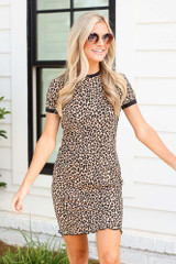 Leopard - Ribbed Knit Bodycon Dress from Dress Up