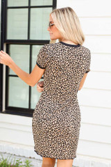 Leopard Ribbed Knit Bodycon Dress Back View