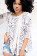 Taupe - Oversized Snakeskin Waffle Knit Top from Dress Up