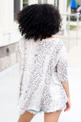 Oversized Snakeskin Waffle Knit Top Back View