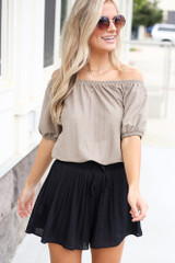 Dress Up model wearing the Pleated Shorts