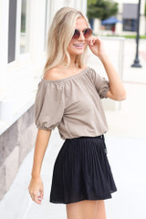 Pleated Shorts Side View