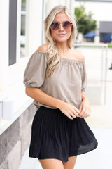 Black - Pleated Shorts from Dress Up