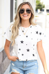 White - Cropped Star Tee