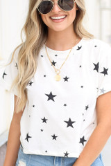 White - Cropped Star Tee from Dress Up