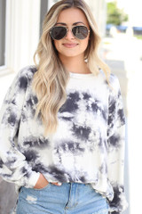 Ivory - Dress Up model wearing the Oversized Tie-Dye Pullover
